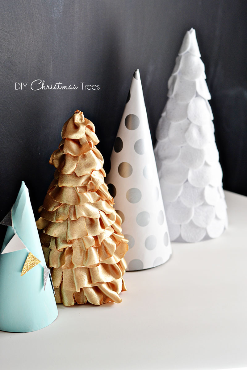 Christmas craft paper fabric felt trees little inspiration solutioingenieria