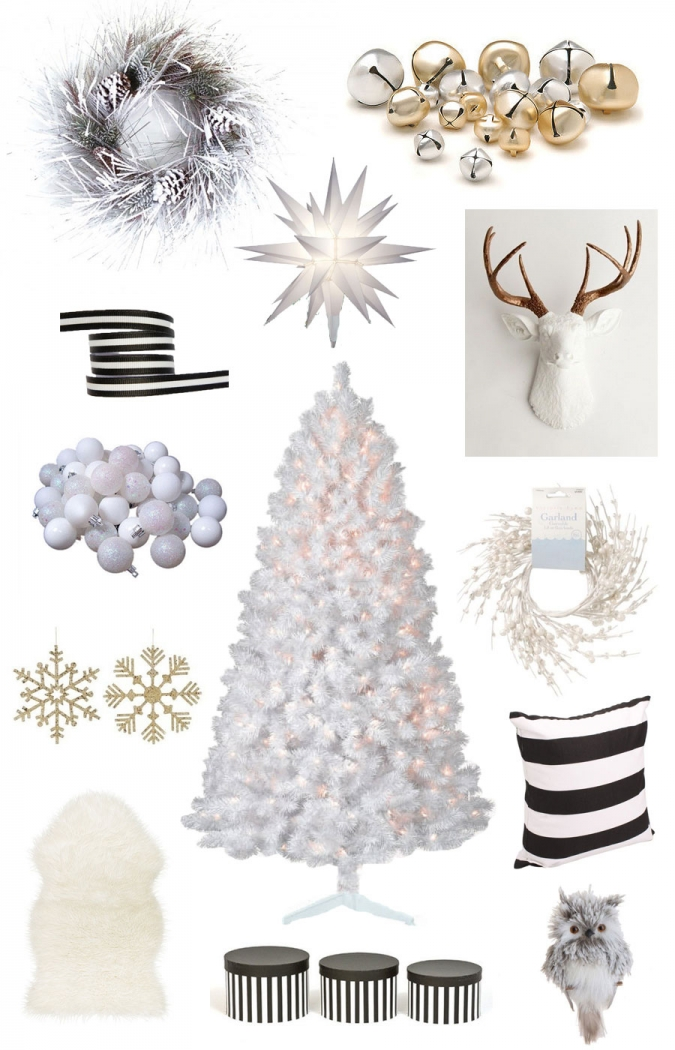 A white black and gold christmas followitfindit for White and gold tree decorations