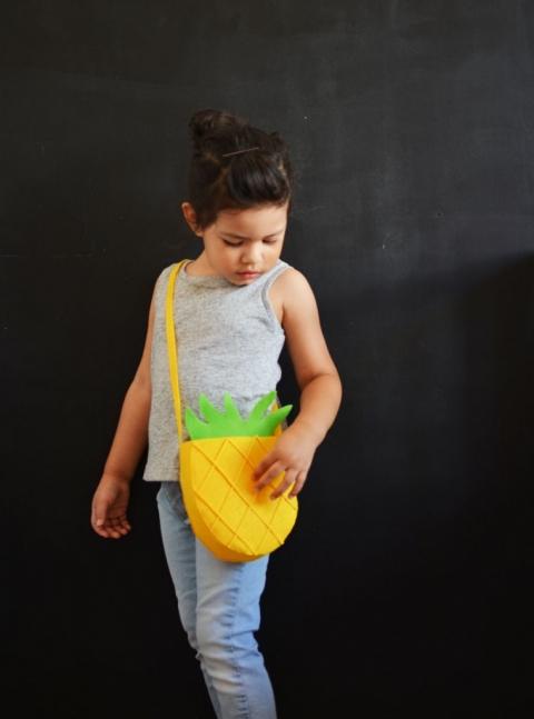 Bricolage-ananas-feutre-sac à main
