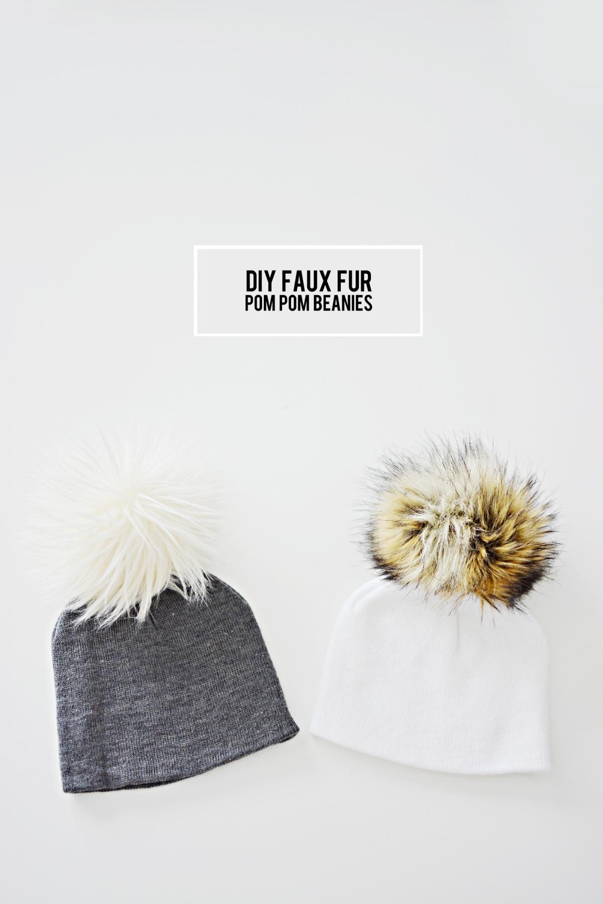 diy faux fur pom pom beanies little inspiration. Black Bedroom Furniture Sets. Home Design Ideas