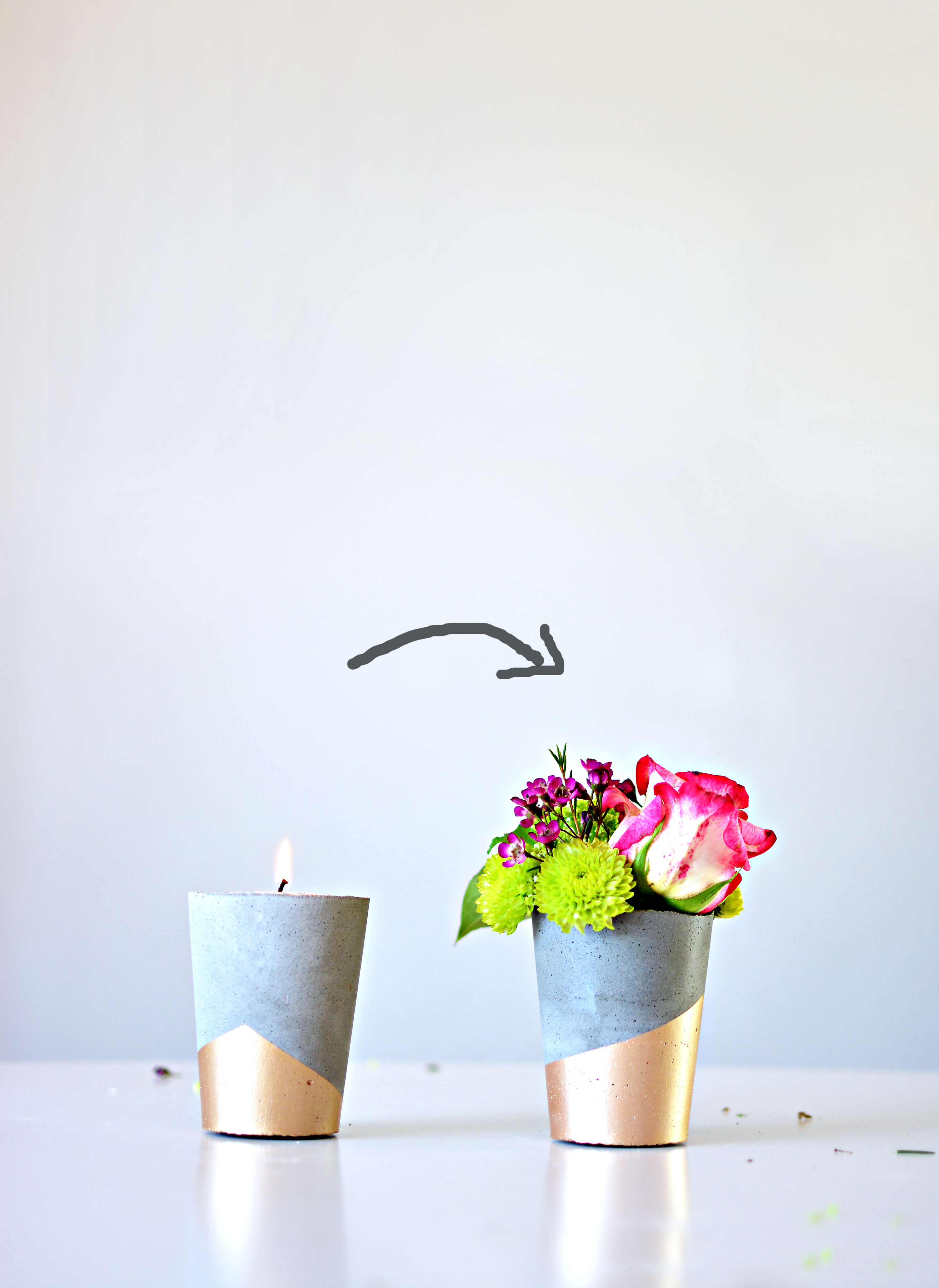 Diy Cement Candle Vases 187 Little Inspiration