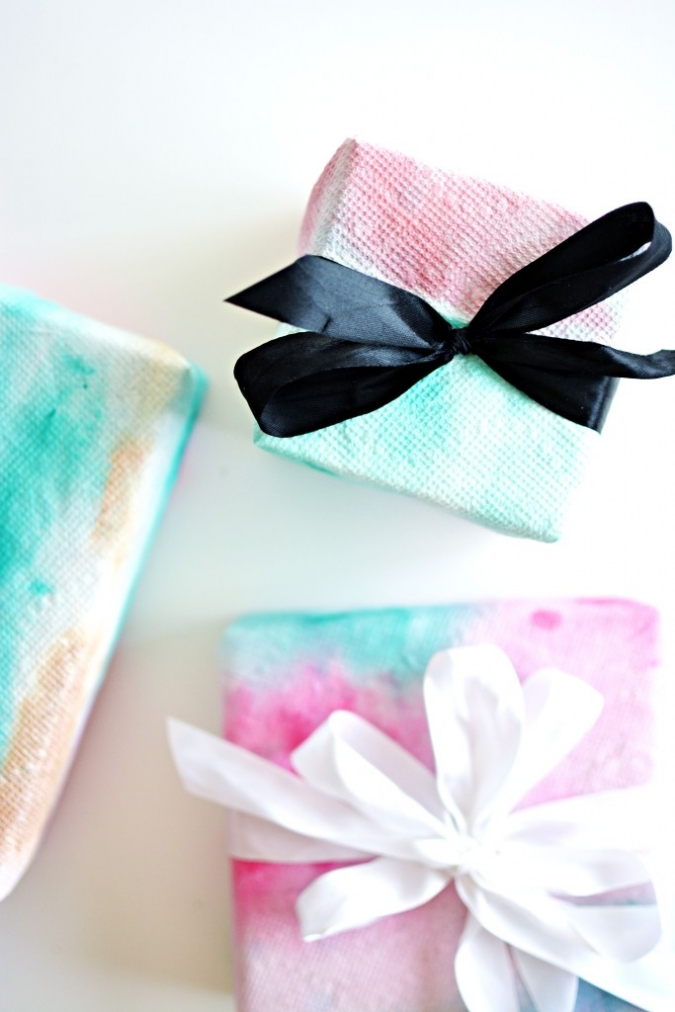 DIY Paper Towel Watercolor Wrapping Paper » Little Inspiration