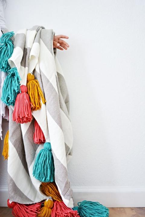 DIY Tassel Throw Blanket Little Inspiration Cool Make Your Own Throw Blanket