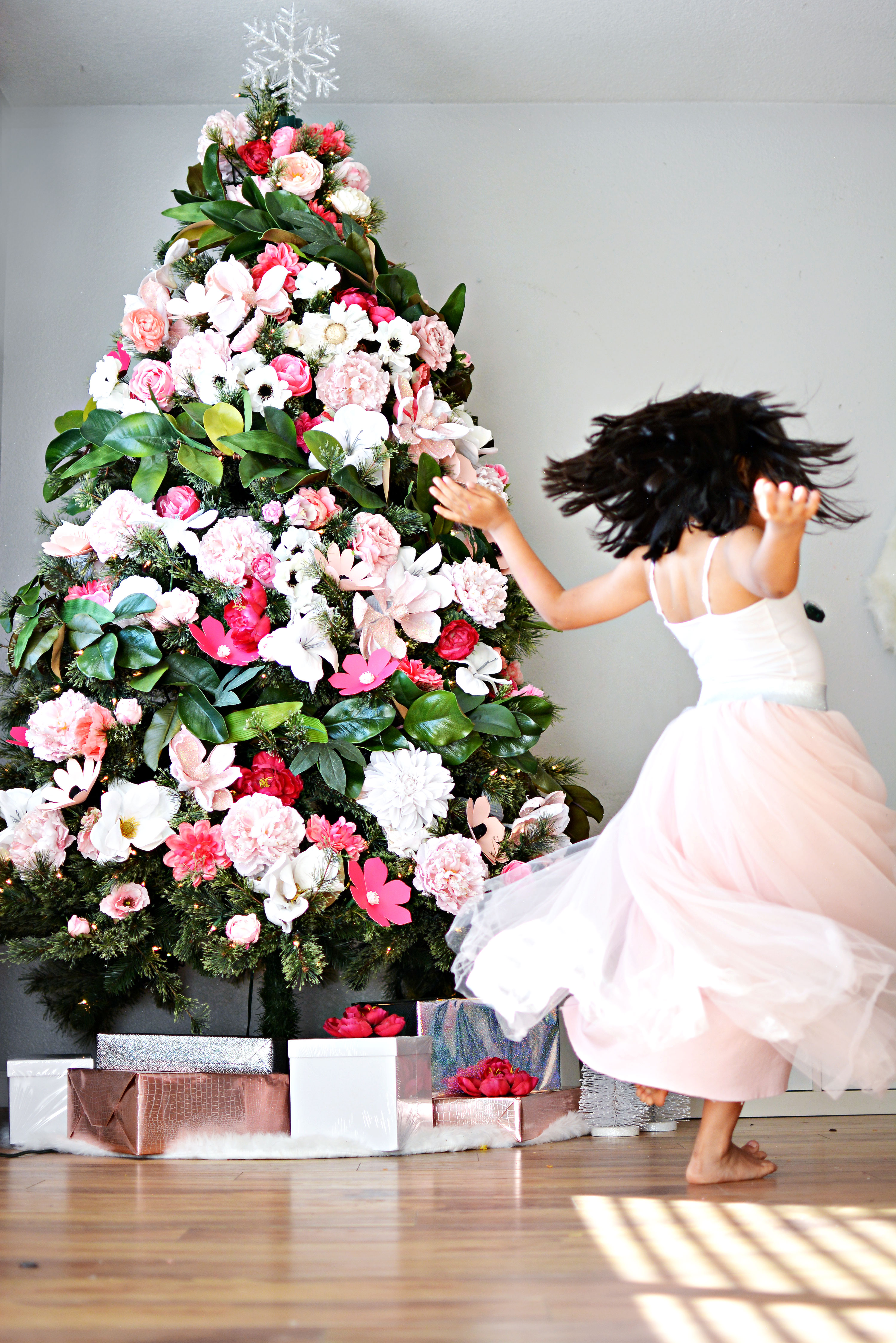 Diy floral christmas tree little inspiration